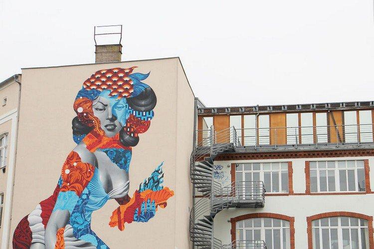 50 foot woman mural