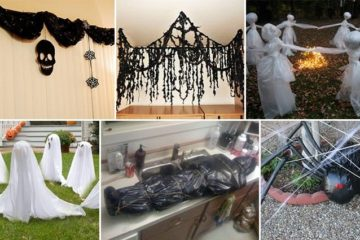Garbage Bags Into Halloween Decorations
