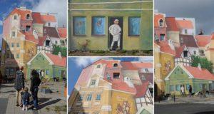 Historical Market District 3D Mural Poland