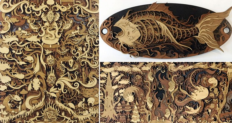 Martin Tomsky Builds Incredible New Worlds From Laser Cut Wood