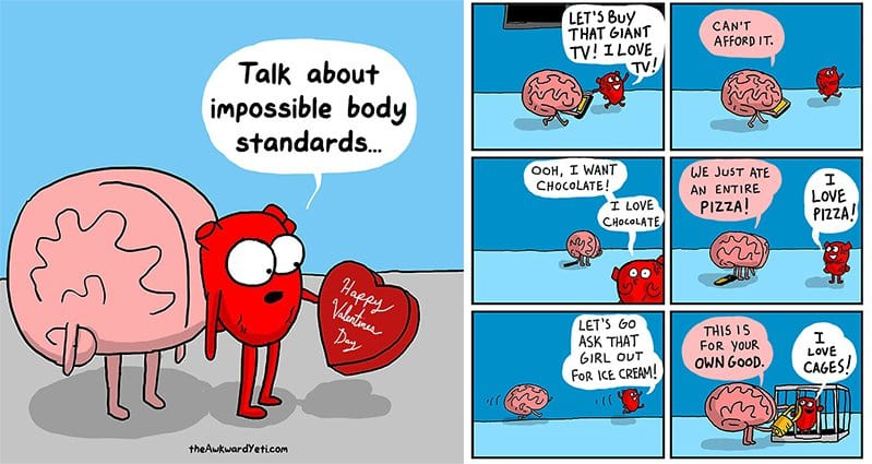 the classic battles between heart and brain hilariously