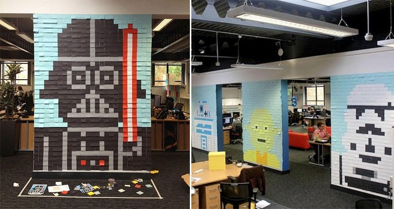 It Took 3579 Post Notes To Transform These Boring Office Walls Wars Ideas  Prissy Design Star