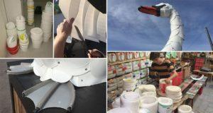 Thomas Dambo Swan Recycled Plastic Buckets