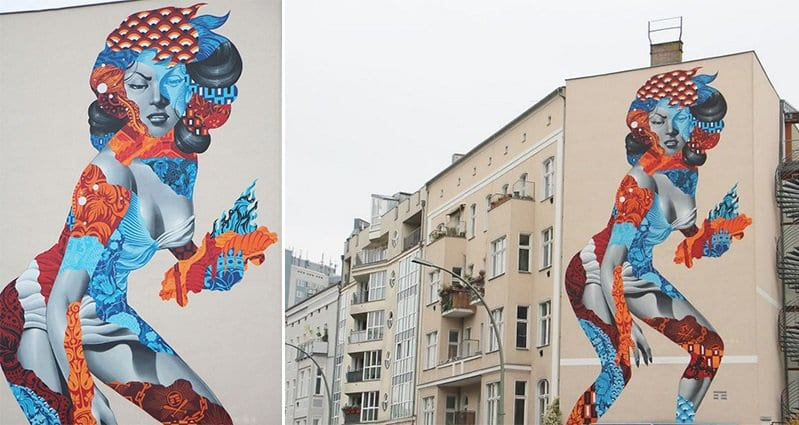 artist creates mural of 50 foot woman on the side of a building in berlin. Black Bedroom Furniture Sets. Home Design Ideas