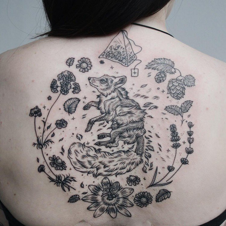 animal back tattoo