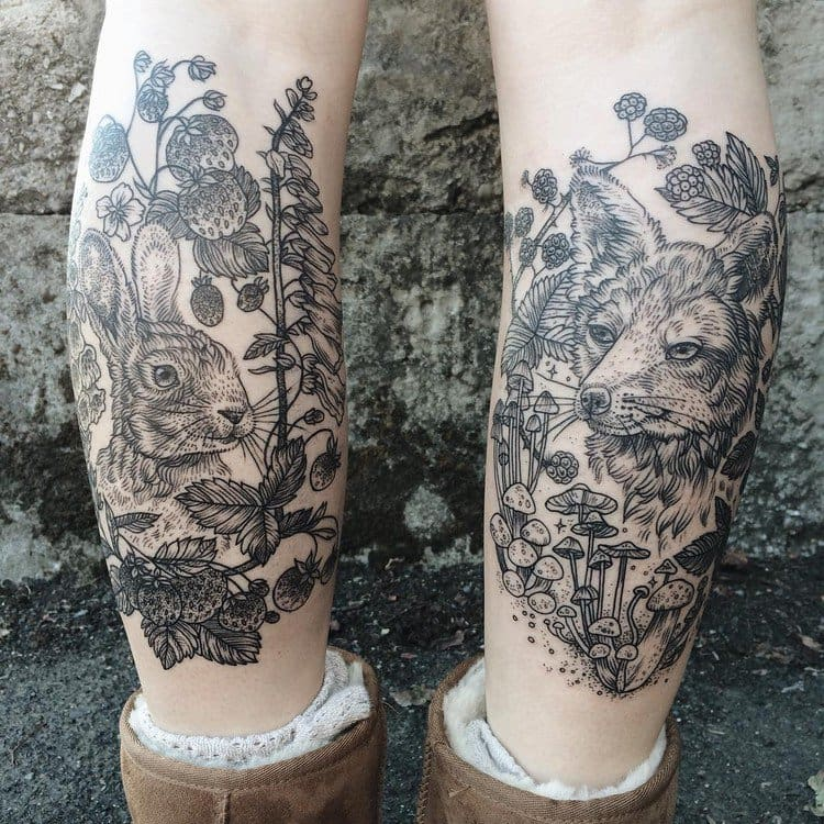 animal leg tattoos