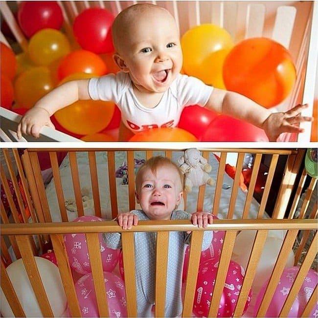 babies cot balloons