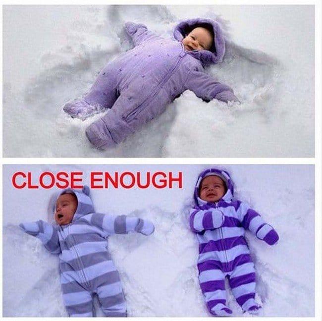 baby snow angels