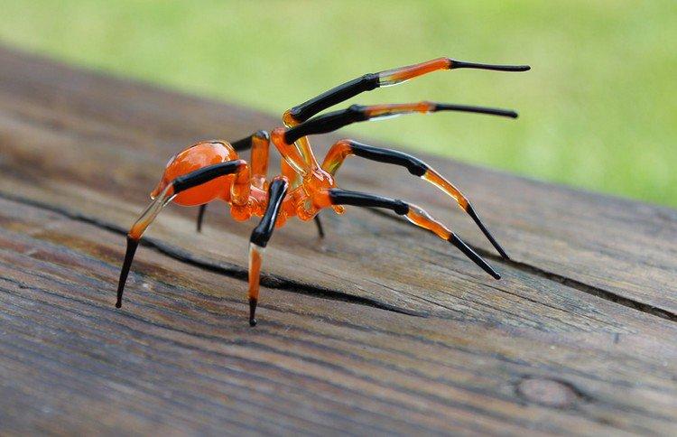 black orange glass spider