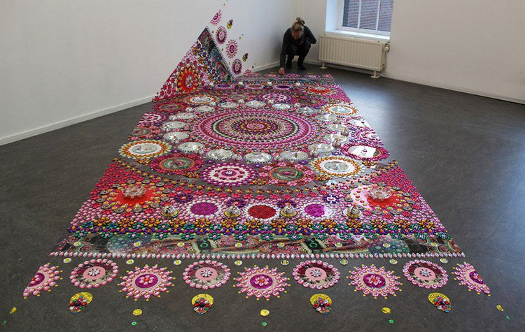 blond woman mandala carpet art