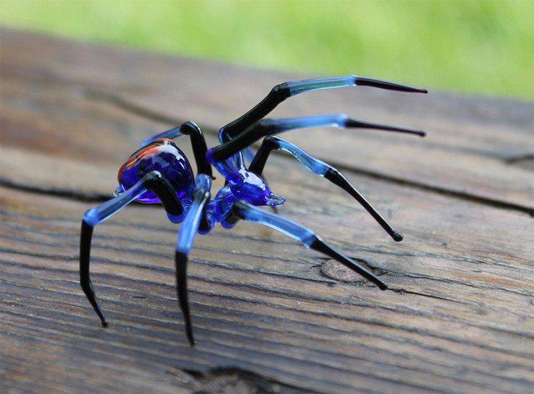 blue glass spider