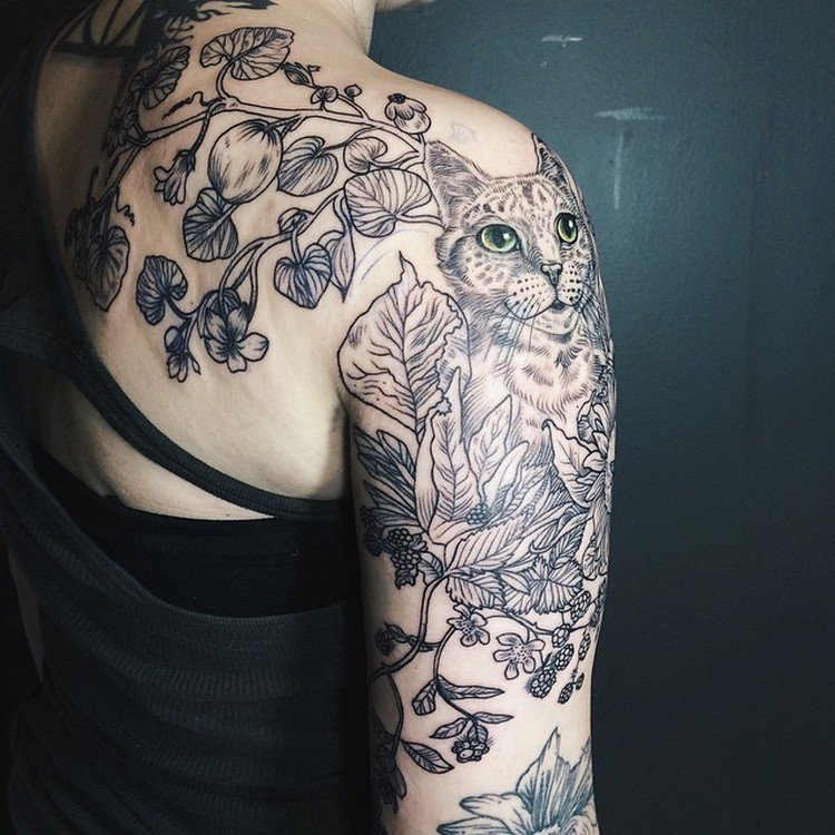 cat plants tattoos