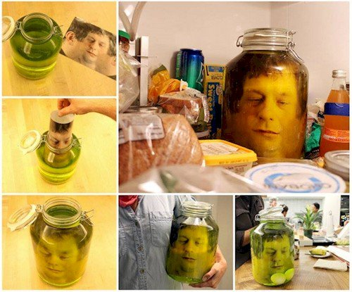 face in jar