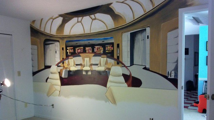 artist crystal ploszay paints awesome star trek mural for wall murals star trek pixersize com