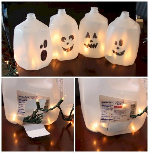 glowing ghost milk jugs