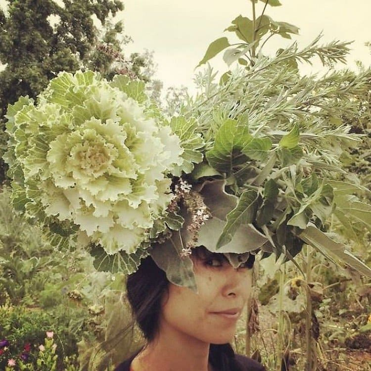 green flowers on head