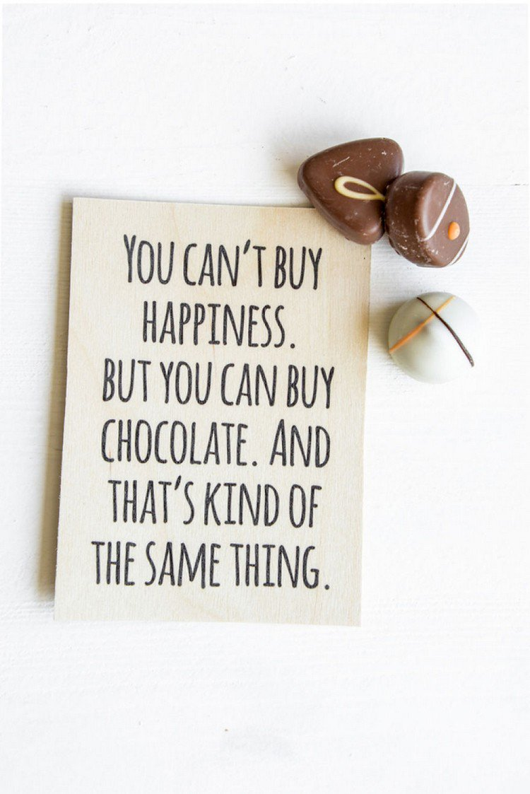 happiness chocolate sign