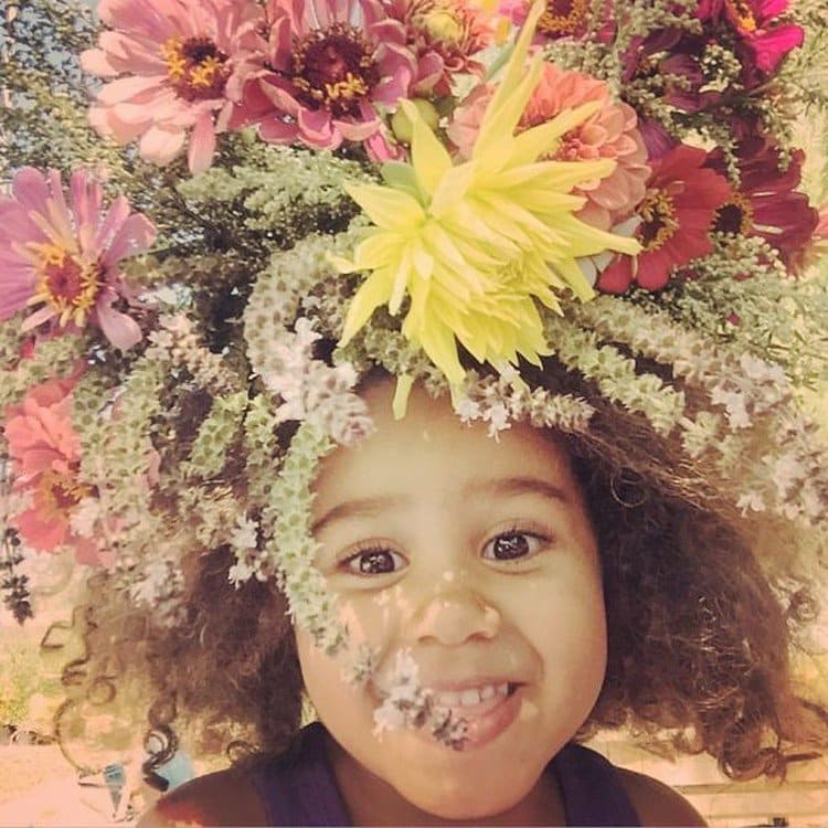 little girl flowers on head