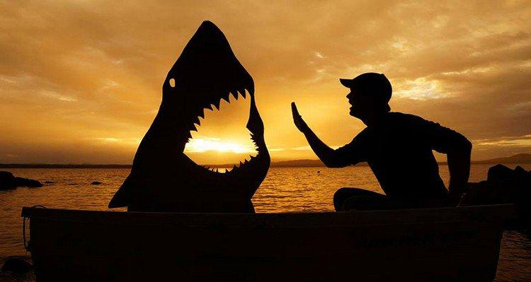 man boat shark silhouette