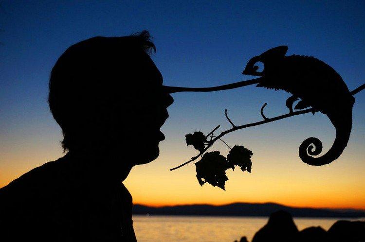man chameleon silhouette