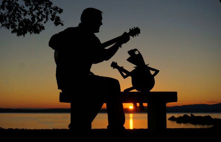 man kermit silhouette guitars