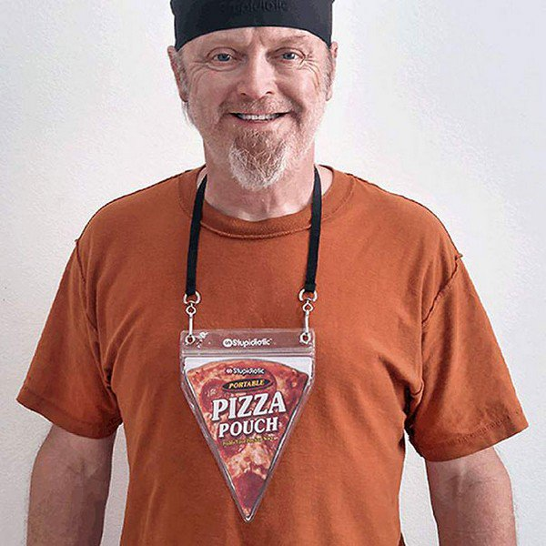 man pizza pouch necklace