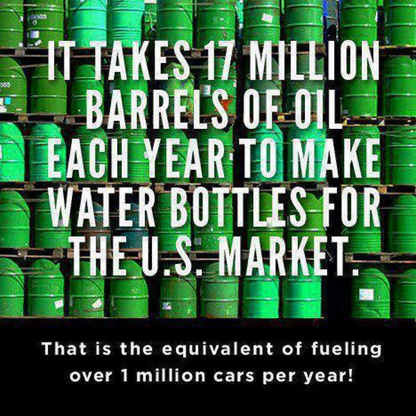 oil barrels water bottles