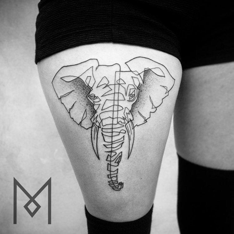one-line-tattoo-mo-ganji-elephant