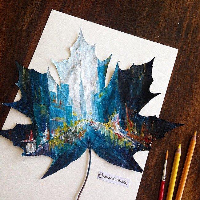 painting on leaf
