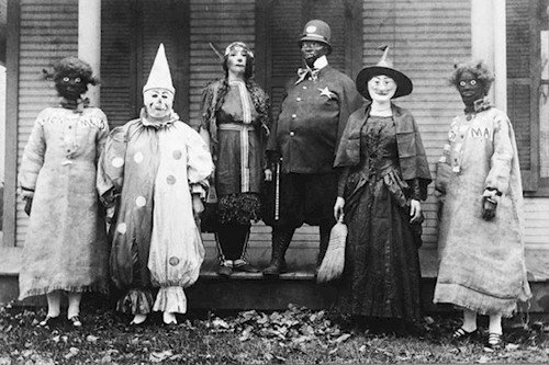 people in masks costumes