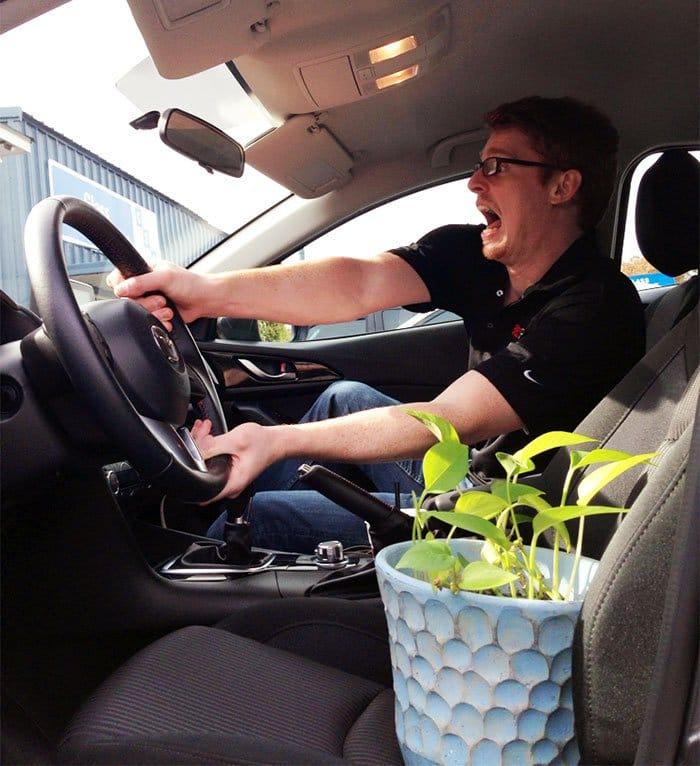 plant man car