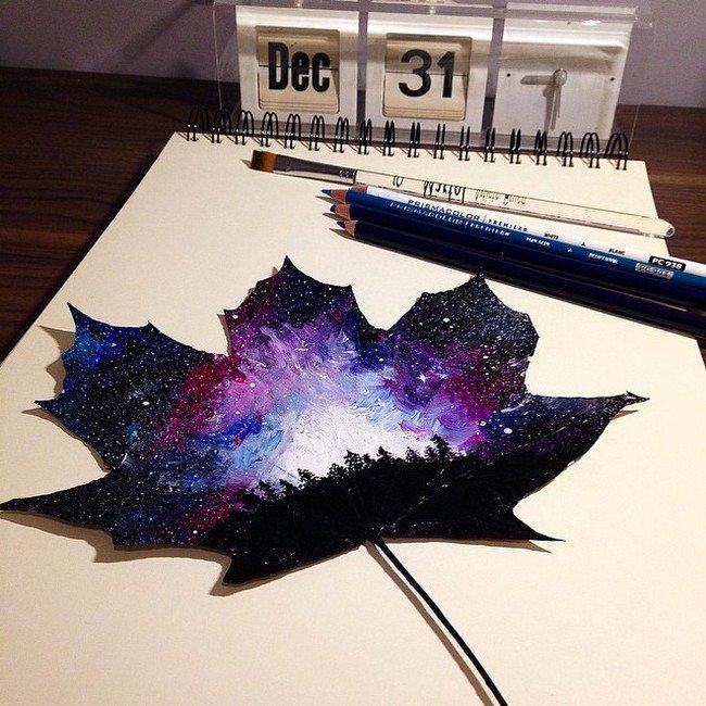 purple starry skies leaf