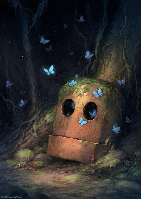 robot head butterflies