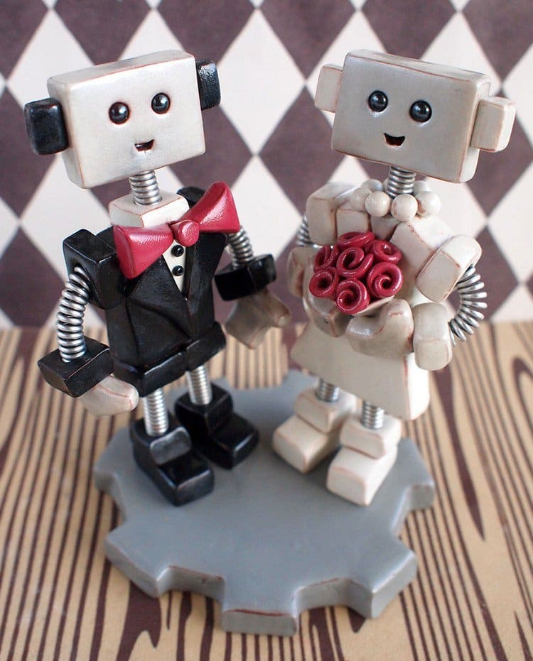robot wedding toppers