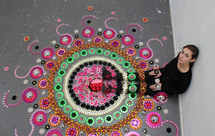 woman in black mandala art