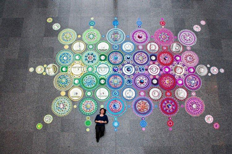 woman laying mandala art