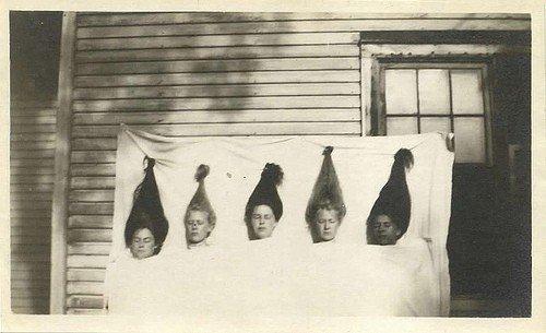 women sheet hair pinned