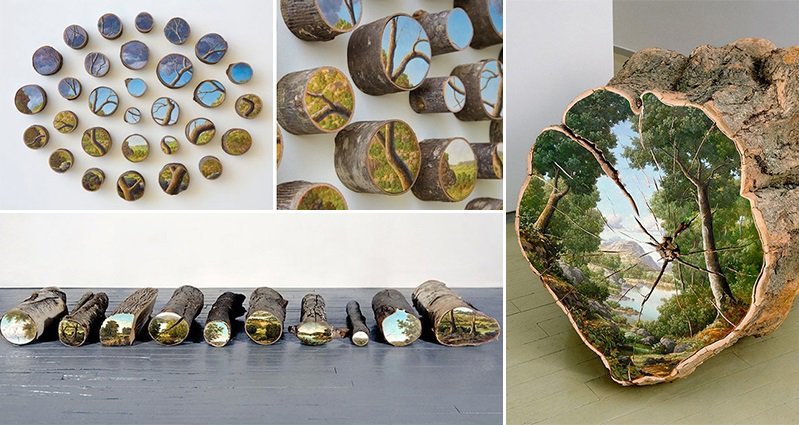 Alison Moritsugu Paints Beautiful Landscapes On Tree Logs