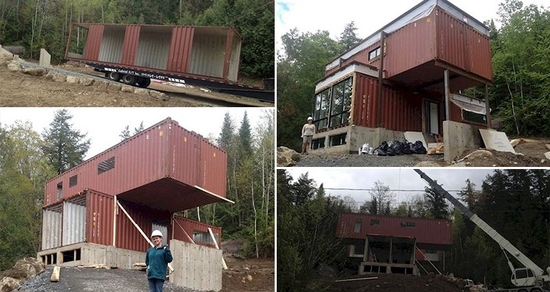see these old shipping containers transform into a luxurious home. Black Bedroom Furniture Sets. Home Design Ideas
