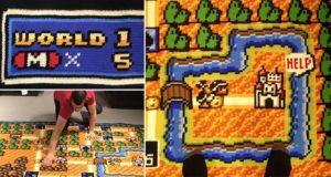 Kjetil Nordin Crocheting Super Mario Bros Map Blanket
