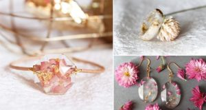 Lyuda Resin Jewelry Flower Petals Gold Flakes
