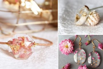 Lyuda Resin Jewelry Flower Petals Gold Flakes