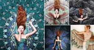 Roza Khamitova Hand-Drawn Winged Scarves