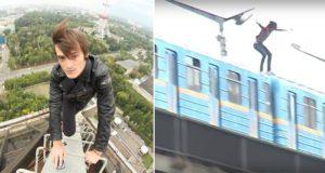 Sasha Shapik Train Surfs 80 Foot Bridge