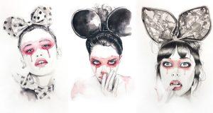 Watercolor Party Girls Mehmet Agar Art