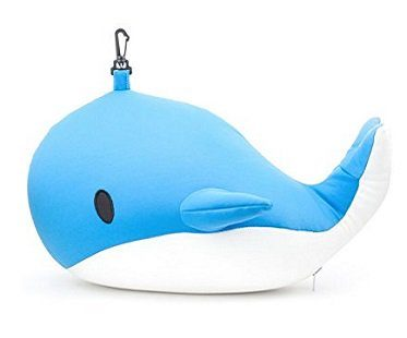 Whale Zip And Flip Travel Pillow blue