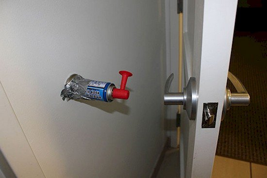 fog horn taped to wall behind door handle practical jokes