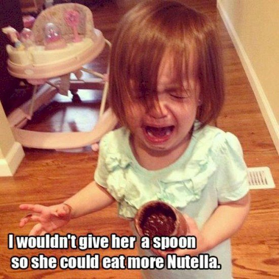 baby crying nutella