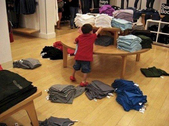 boy clothes piles