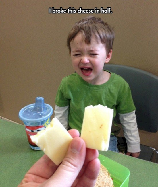 boy crying cheese
